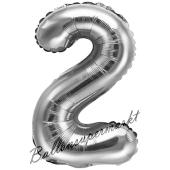 Luftballon Zahl 2, silber, 35 cm