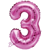 Luftballon Zahl 3, pink, 35 cm