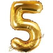Luftballon Zahl 5, gold, 35 cm