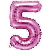 Luftballon Zahl 5, pink, 35 cm