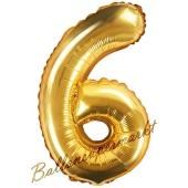 Luftballon Zahl 6, gold, 35 cm