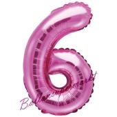 Luftballon Zahl 6, pink, 35 cm