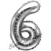 Luftballon Zahl 6, silber, 35 cm