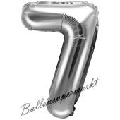 Luftballon Zahl 7, silber, 35 cm