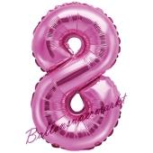 Luftballon Zahl 8, pink, 35 cm