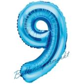 Luftballon Zahl 9, blau, 35 cm