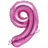 Luftballon Zahl 9, pink, 35 cm
