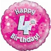 Luftballon aus Folie zum 4. Geburtstag, Happy 4th Birthday Pink