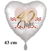 40 Jahre Herzluftballon aus Folie zum 40. Geburtstag, 43 cm, satinweiß, mit Ballongas-Helium