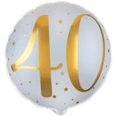 Luftballon aus Folie Zahl 40 Gold-Weiß, zum 40. Geburtstag