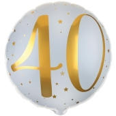 Luftballon zum 40. Geburtstag, Gold-Weiß, ohne Ballongas