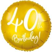Luftballon aus Folie Zahl 40 Gold, zum 40. Geburtstag
