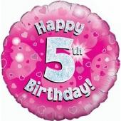 Luftballon aus Folie zum 5. Geburtstag, Happy 5th Birthday Pink