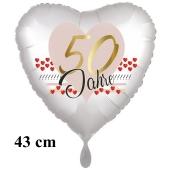 50 Jahre Herzluftballon aus Folie zum 50. Geburtstag, 43 cm, satinweiß, mit Ballongas-Helium