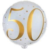 Luftballon aus Folie Zahl 50 Gold-Weiß, zum 50. Geburtstag
