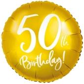 Luftballon aus Folie Zahl 50 Gold, zum 50. Geburtstag