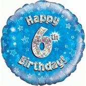 Luftballon aus Folie zum 6. Geburtstag, blauer Rundballon, Junge, Zahl 6, inklusive Ballongas