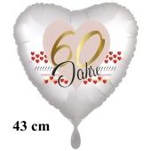 60 Jahre Herzluftballon aus Folie zum 60. Geburtstag, 43 cm, satinweiß, mit Ballongas-Helium