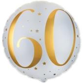 Luftballon zum 60. Geburtstag, Gold-Weiß, ohne Ballongas