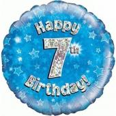 Luftballon aus Folie zum 7. Geburtstag, blauer Rundballon, Junge, Zahl 7, inklusive Ballongas