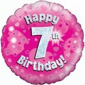 Luftballon aus Folie zum 7. Geburtstag, Happy 7th Birthday Pink