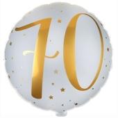 Luftballon aus Folie mit Ballongas, Zahl 70 Gold-Weiß, zum 70. Geburtstag, Jubiläum oder Jahrestag