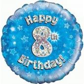 Luftballon aus Folie zum 8. Geburtstag, Happy 8th Birthday Blue