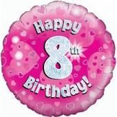 Luftballon aus Folie zum 8. Geburtstag, Happy 8th Birthday Pink