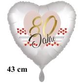 80 Jahre Herzluftballon aus Folie zum 80. Geburtstag, 43 cm, satinweiß, mit Ballongas-Helium