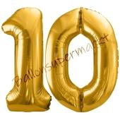 Luftballon Zahl 10, gold, 86 cm