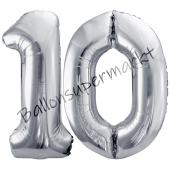 Luftballon Zahl 10, silber, 86 cm