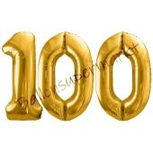 Luftballon Zahl 100, gold, 86 cm