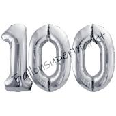 Luftballon Zahl 100, silber, 86 cm