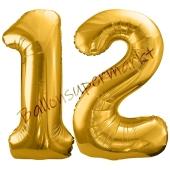 Luftballon Zahl 12, gold, 86 cm