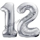Luftballon Zahl 12, silber, 86 cm