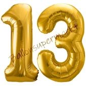 Luftballon Zahl 13, gold, 86 cm