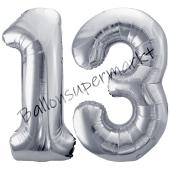 Luftballon Zahl 13, silber, 86 cm