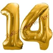 Luftballon Zahl 14, gold, 86 cm