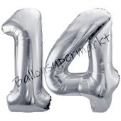 Luftballon Zahl 14, silber, 86 cm