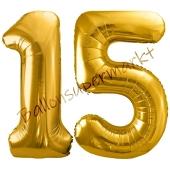 Luftballon Zahl 15, gold, 86 cm