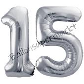 Luftballon Zahl 15, silber, 86 cm