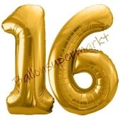 Luftballon Zahl 16, gold, 86 cm