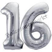 Luftballon Zahl 16, silber, 86 cm