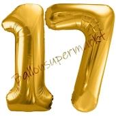 Luftballon Zahl 17, gold, 86 cm