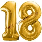 Luftballon Zahl 18, gold, 86 cm