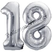 Luftballon Zahl 18, silber, 86 cm