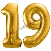 Luftballon Zahl 19, gold, 86 cm