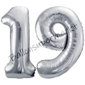 Luftballon Zahl 19, silber, 86 cm