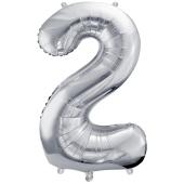 Luftballon aus Folie, Zahl 2, Silber