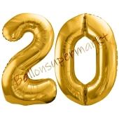 Luftballon Zahl 20, gold, 86 cm